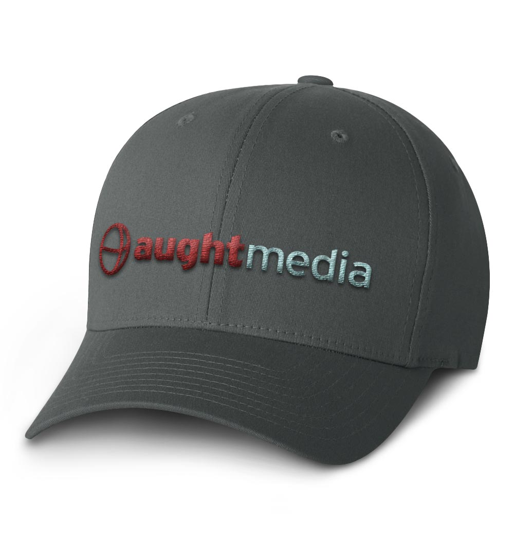 Aught Media Flexfit Cap — Grey with Logo