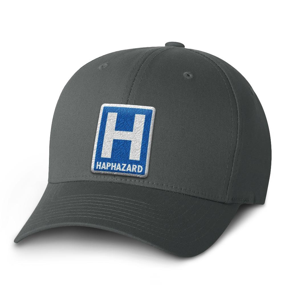 Haphazard Flexfit Cap — Dark Grey with Blue Logo