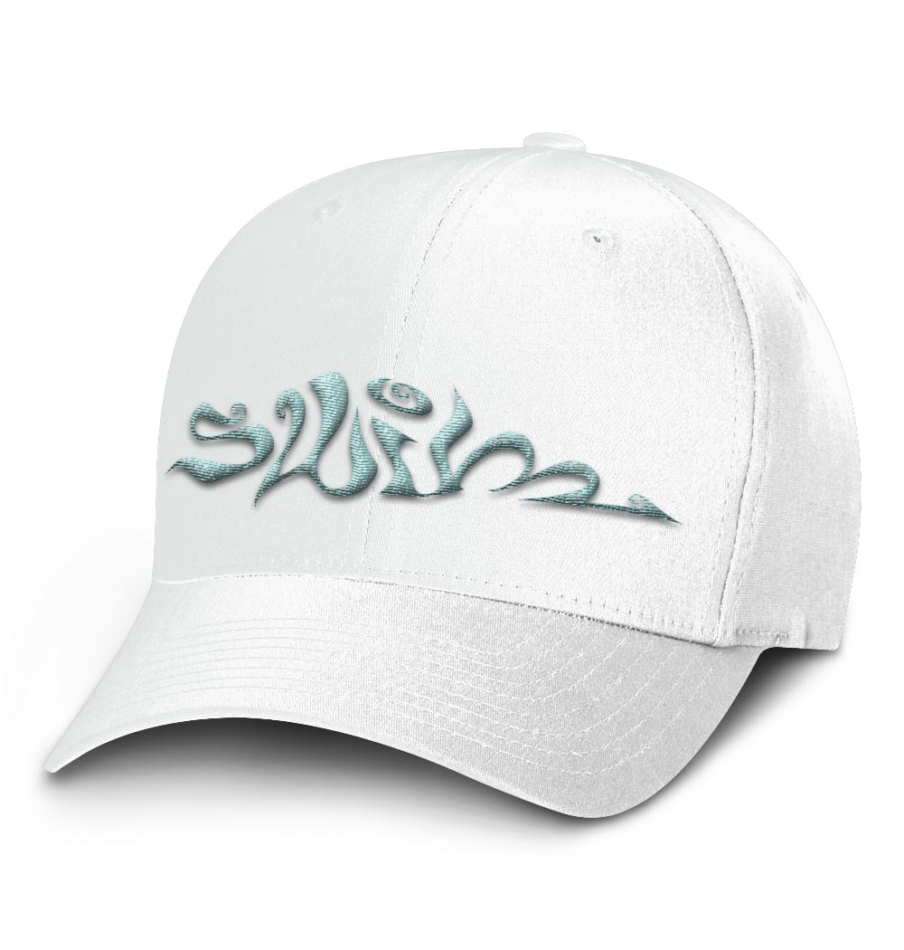 Swim Flexfit Cap — White with Light Blue Logo