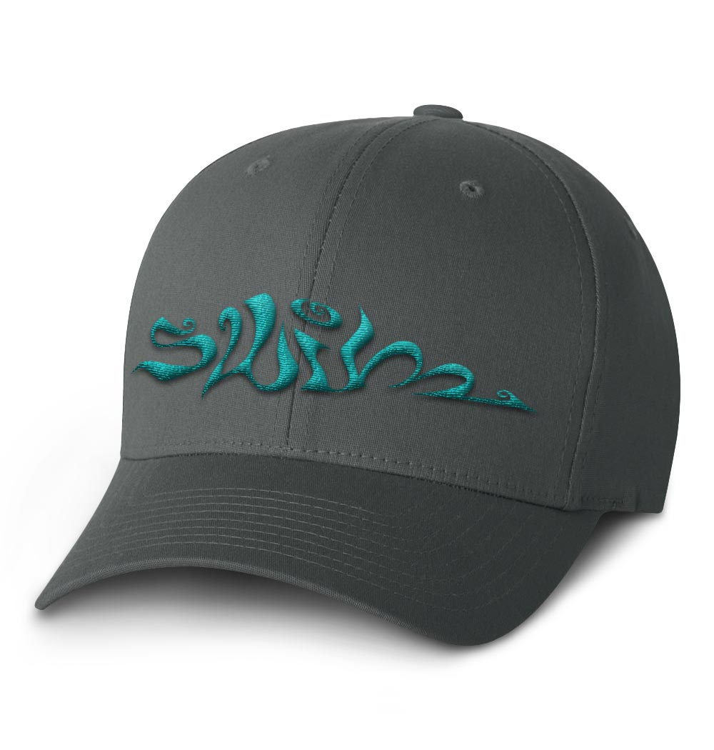 Swim Flexfit Cap — Dark Grey with Teal Logo