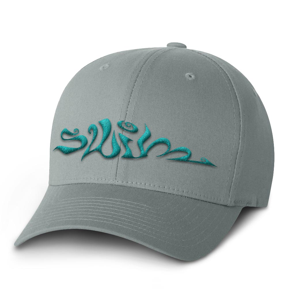 Swim Flexfit Cap — Grey with Teal Logo