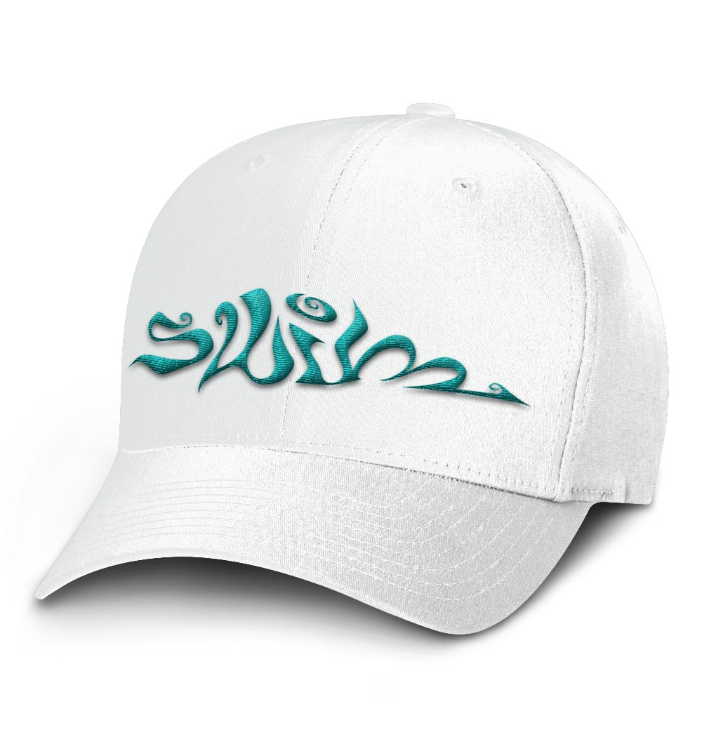 Swim Flexfit Cap — White with Teal Logo